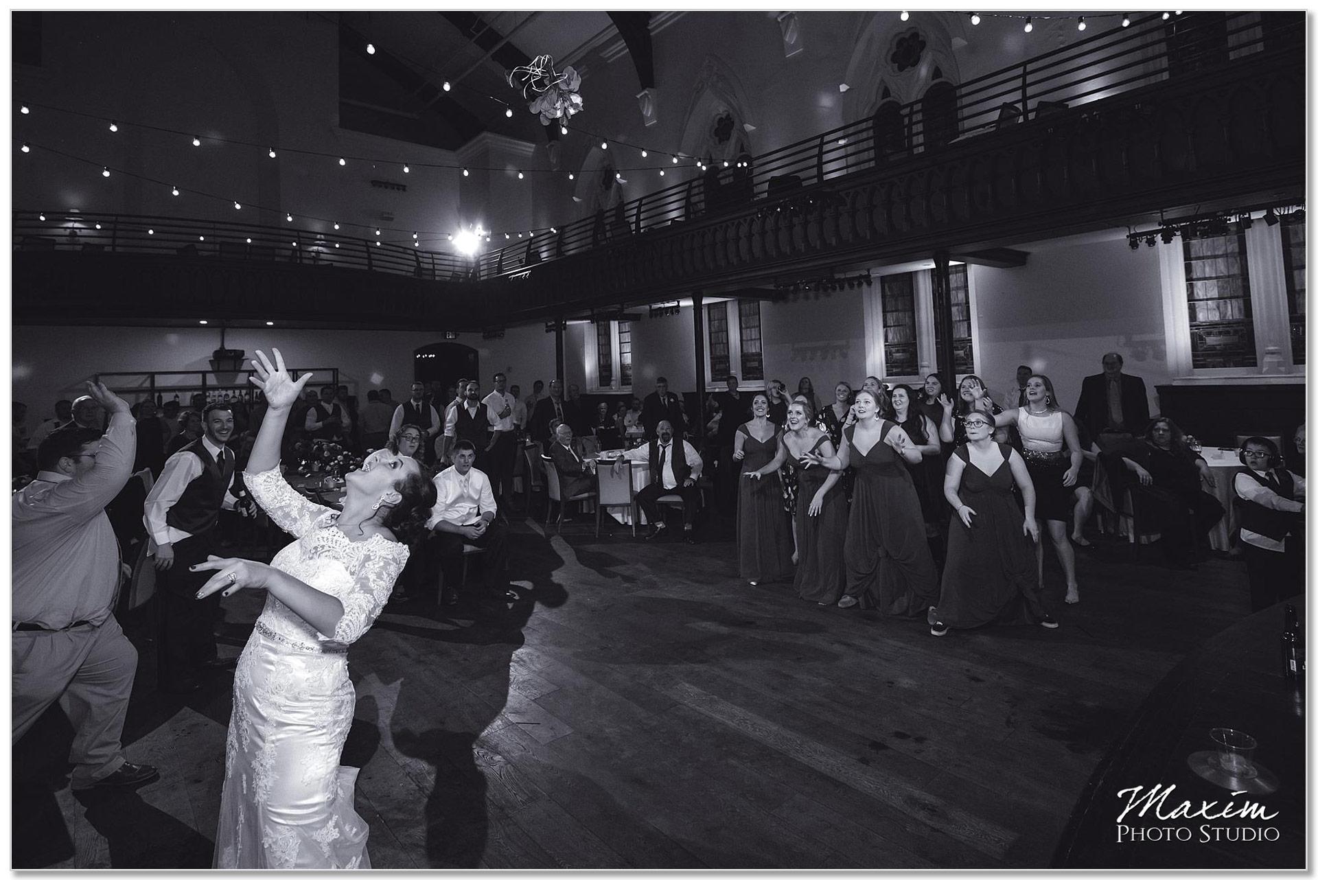 The transept Wedding reception bouquet toss