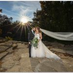 Eden Park Cincinnati sunset bride