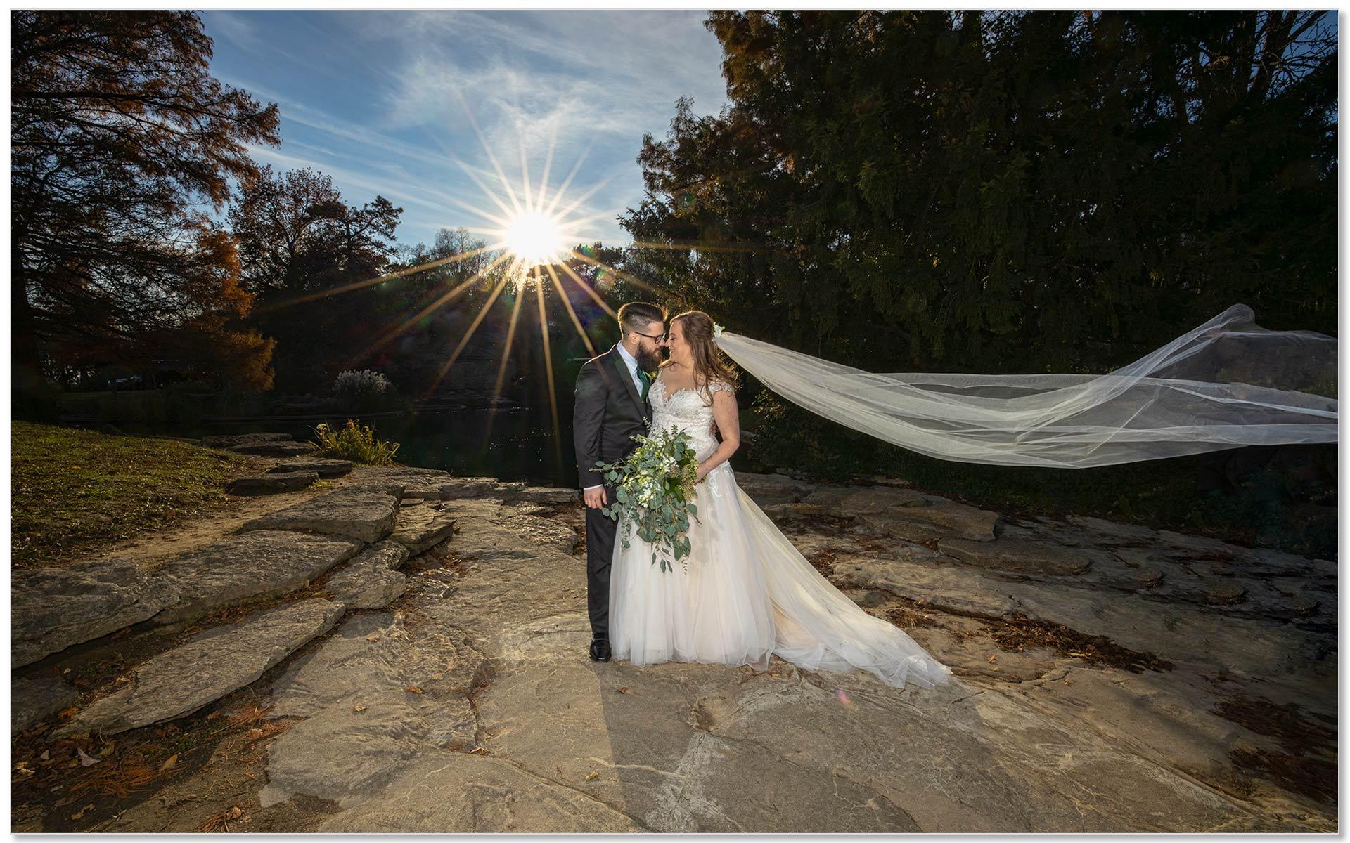 Eden Park Cincinnati sunset bride