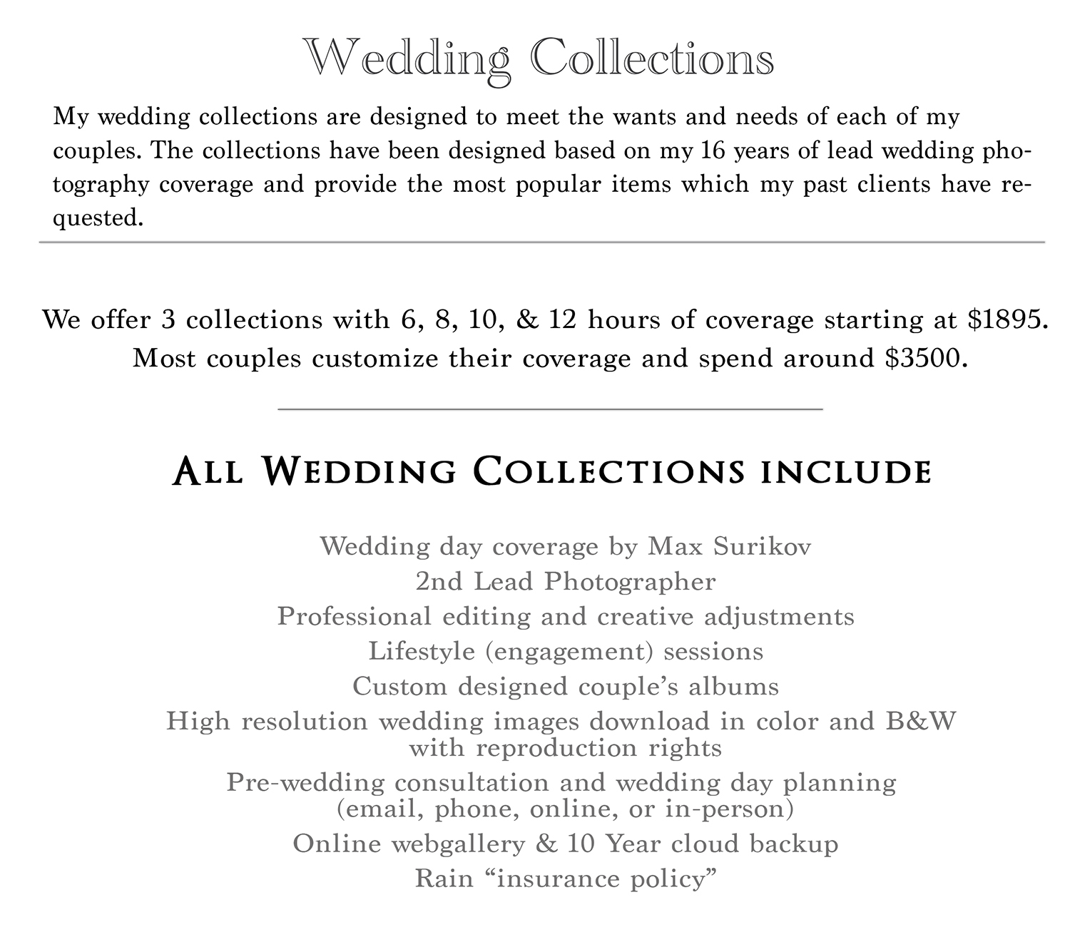 Cincinnati Wedding Photography pricing