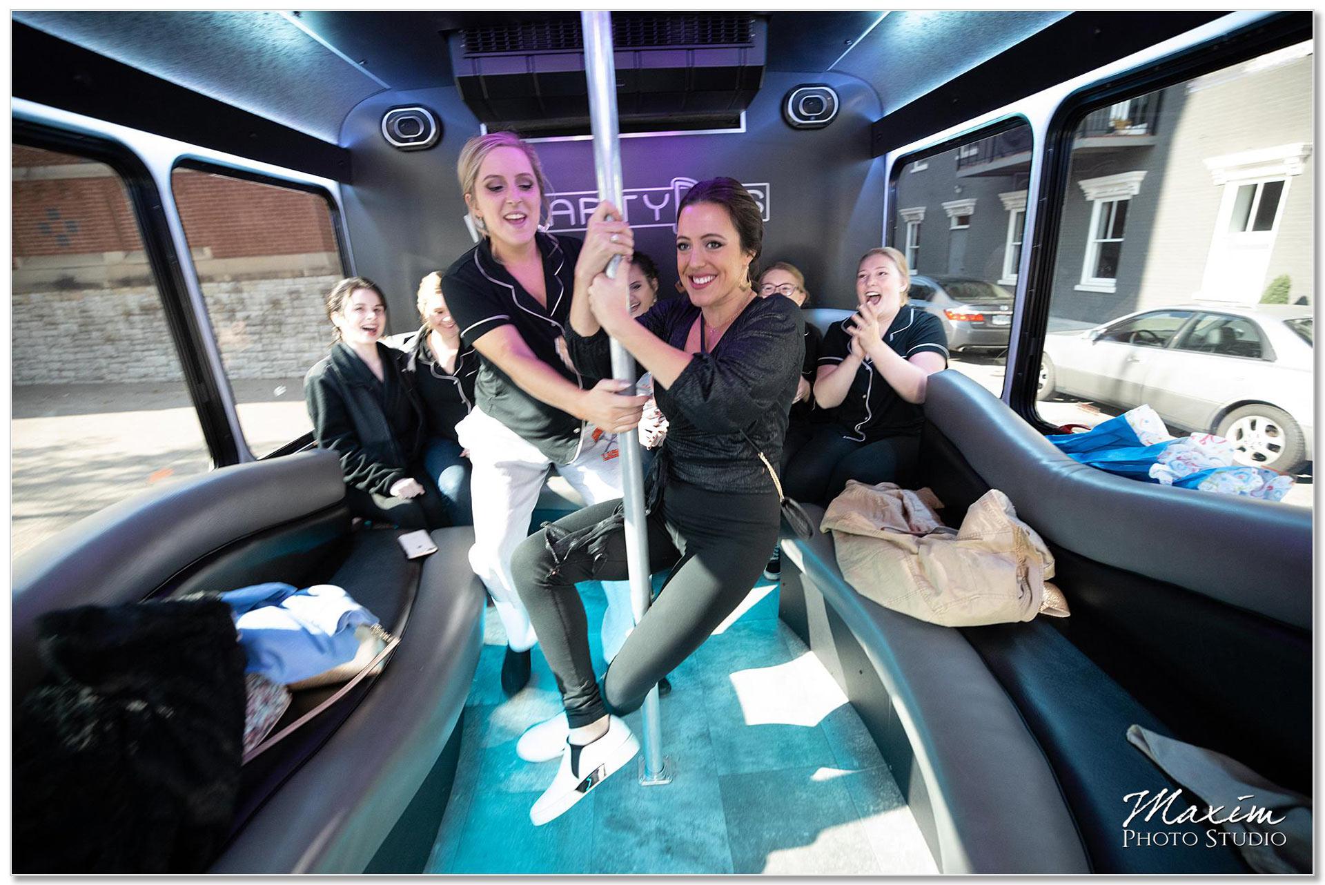 My Party bus bridesmaids