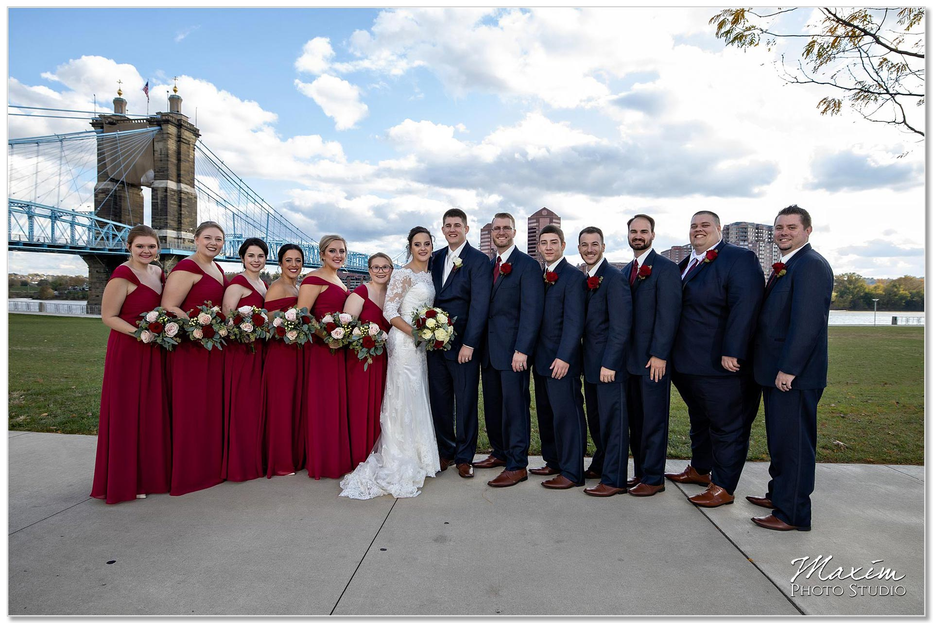 Smale Riverfront Park Wedding portraits Roebling Bridge