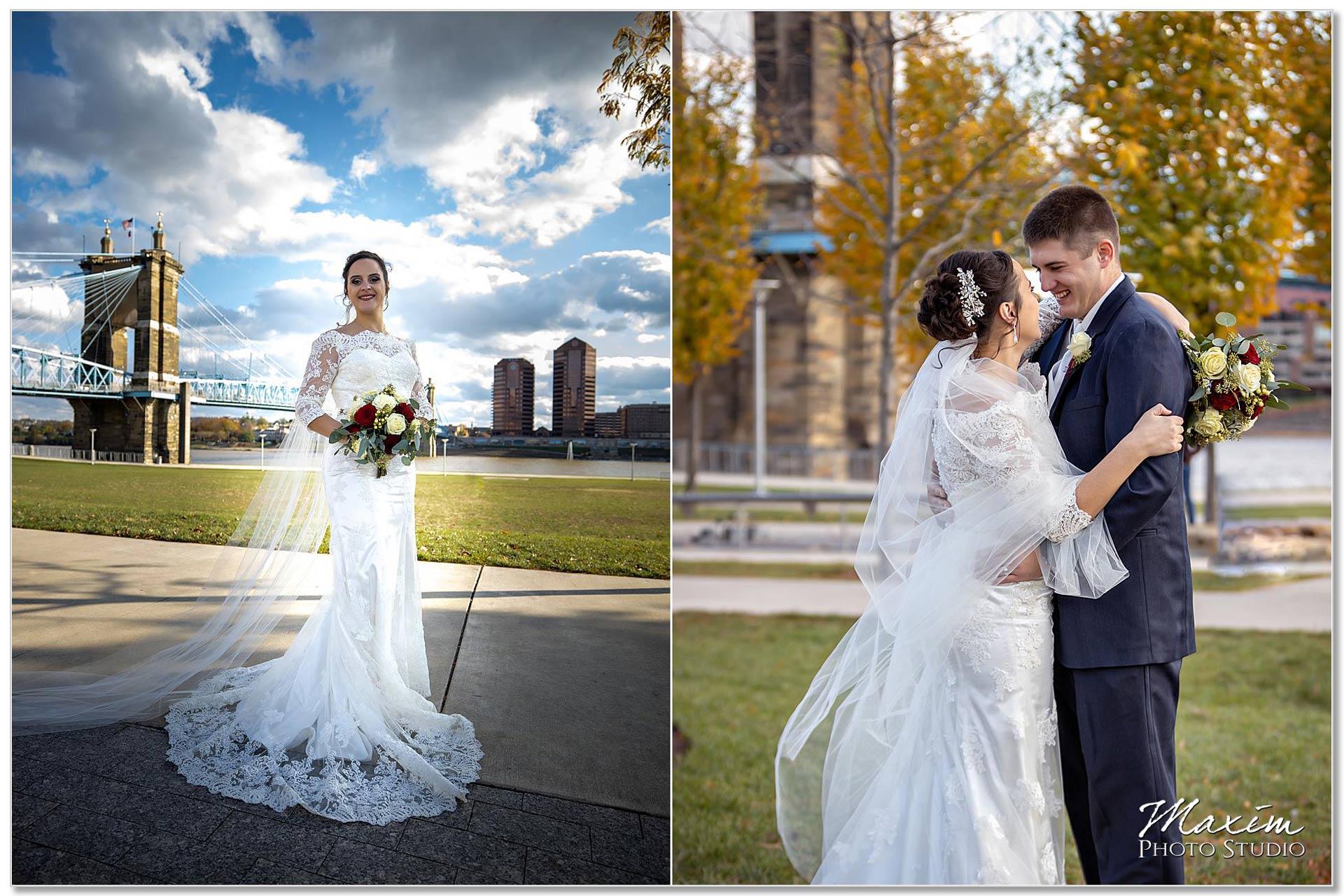 Smale Riverfront Park Wedding portraits bride groom