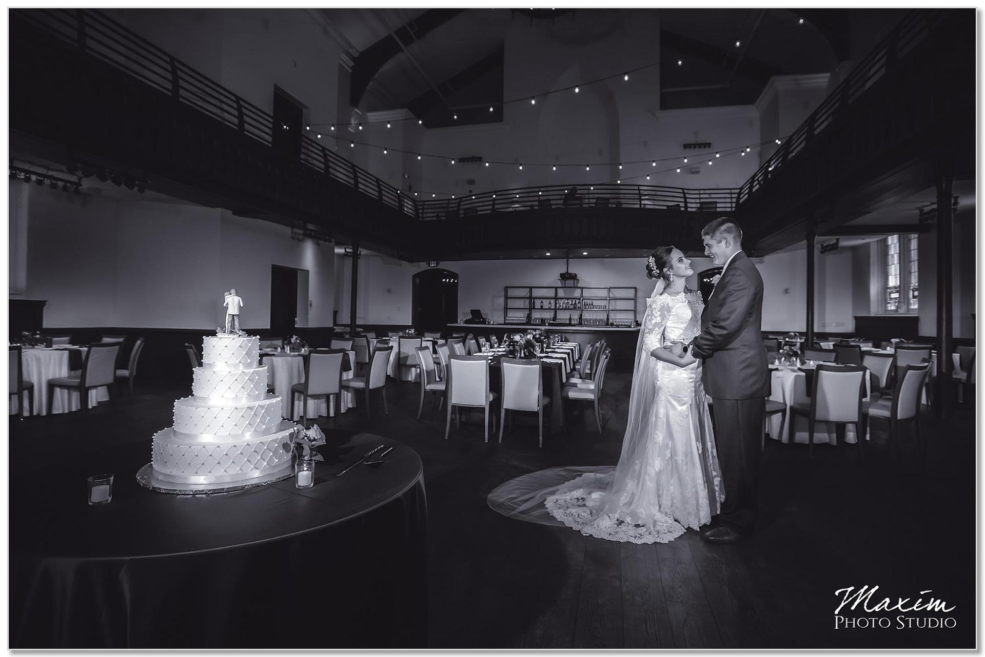 The Transept wedding reception Cake groom bride