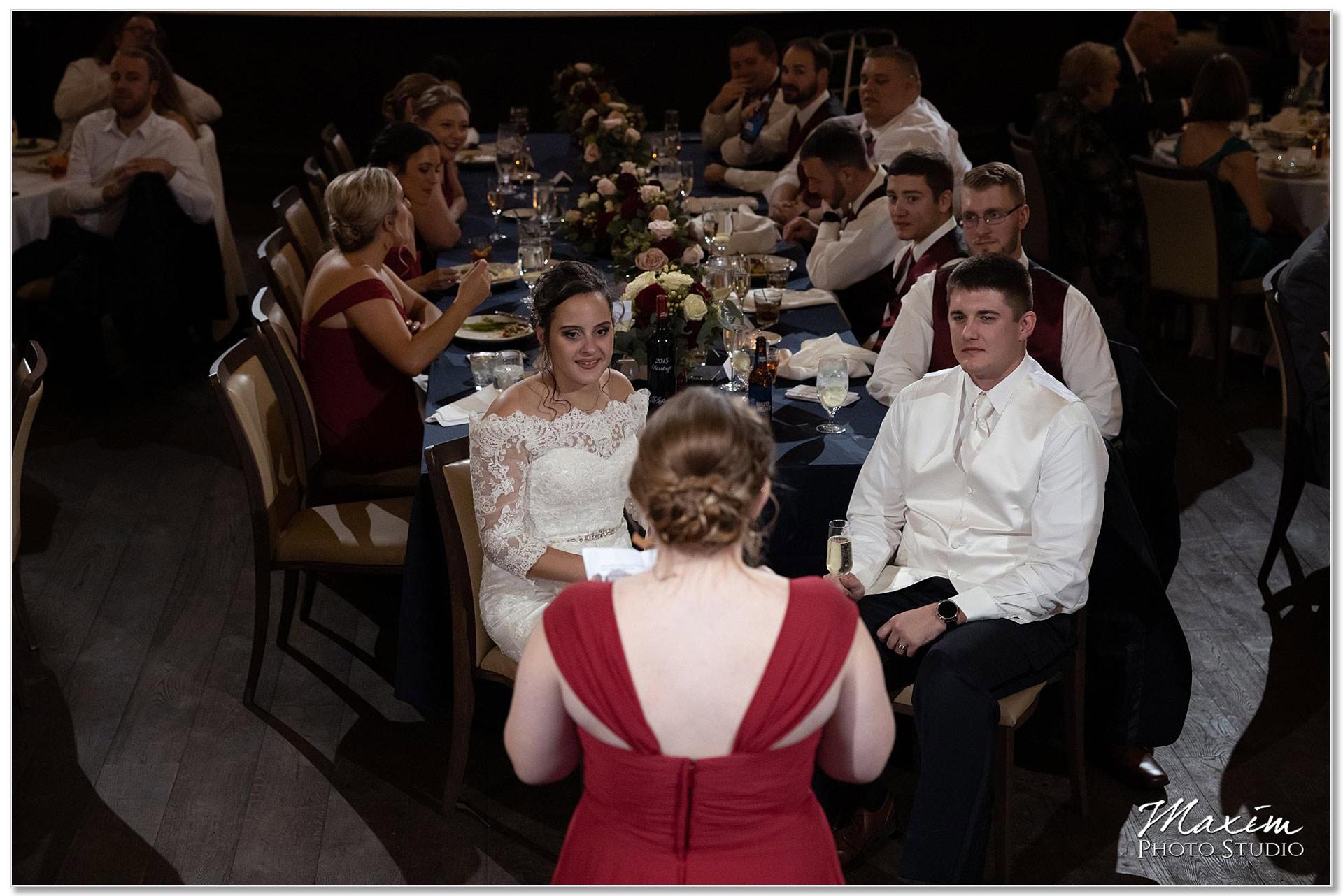 The Transept wedding reception bridesmaid toast