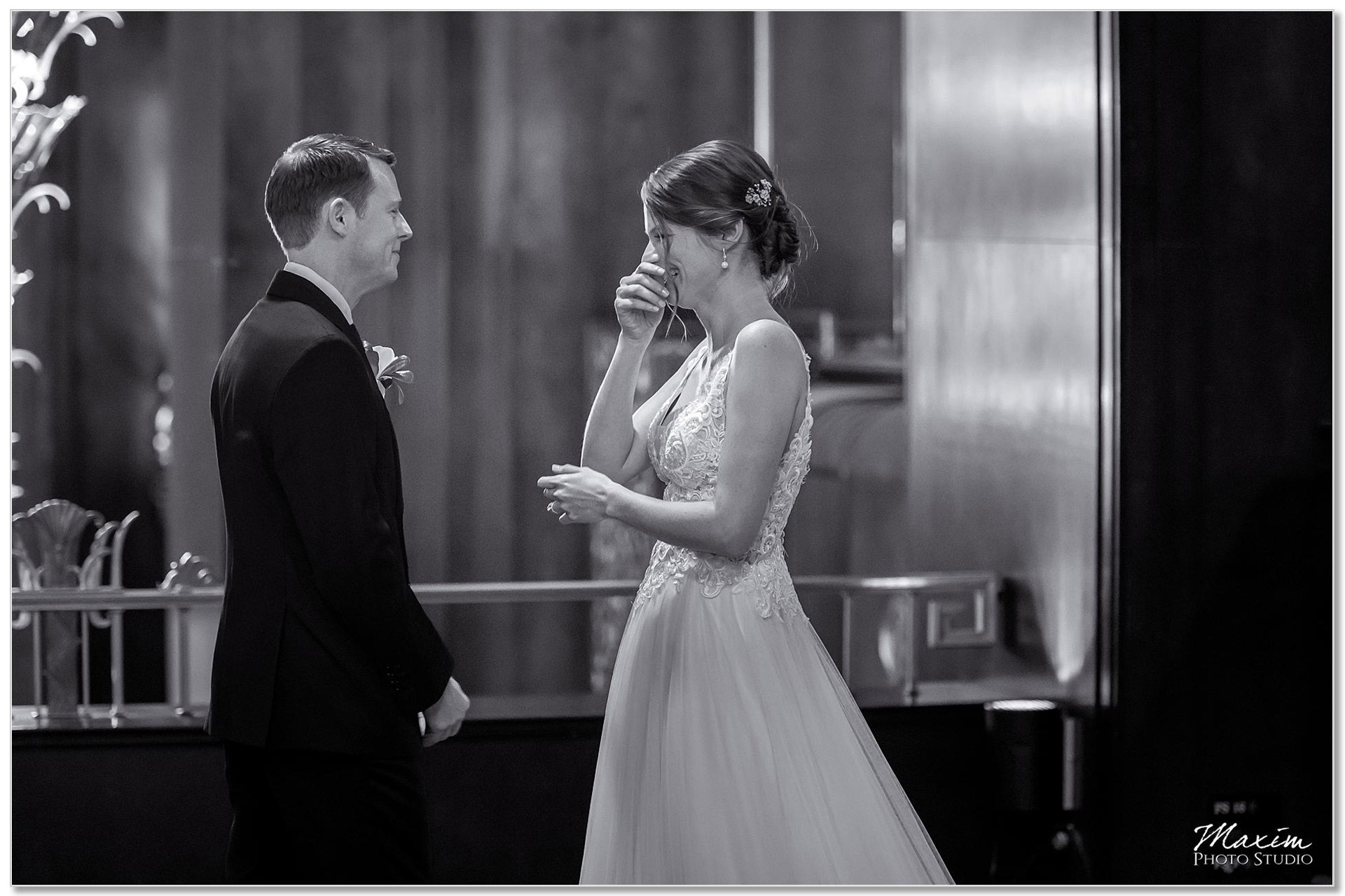 Hilton Netherland Plaza Hotel Bride Groom First look