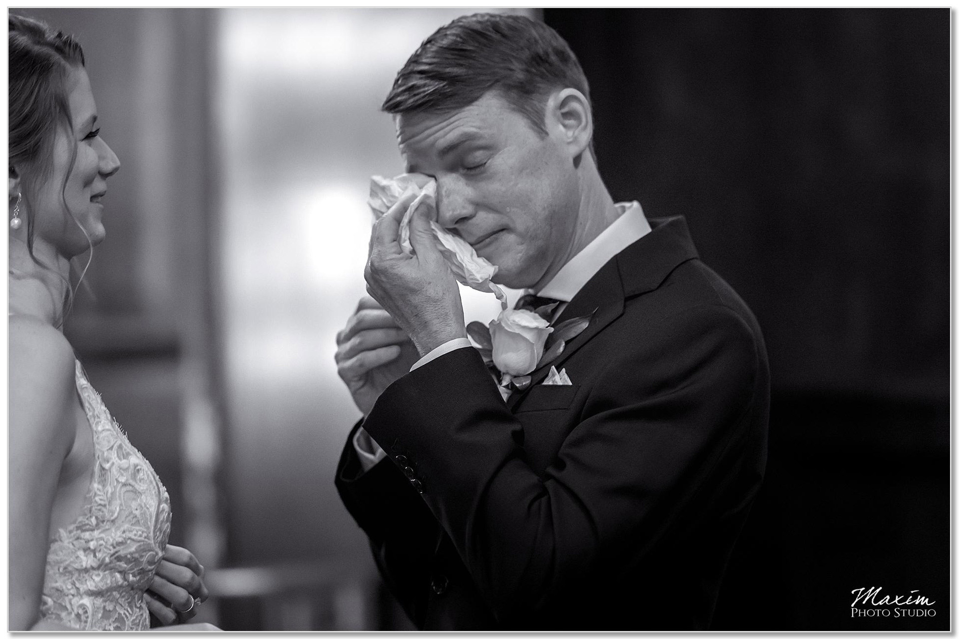 Hilton Netherland Plaza Hotel Bride Groom crying First look