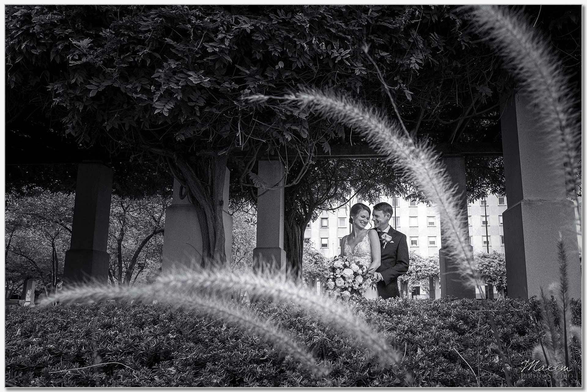 P&G Gardens Cincinnati Bride Groom Portraits