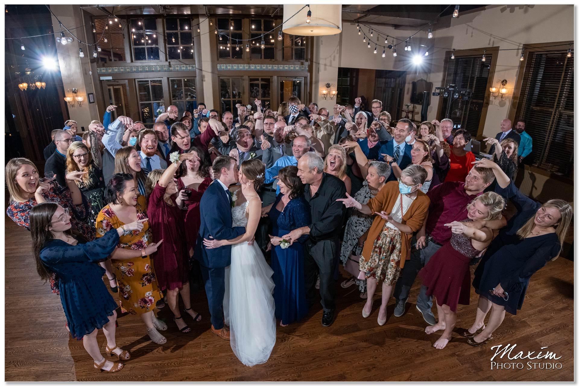 Backstage Event Center Wedding Reception Group Photo