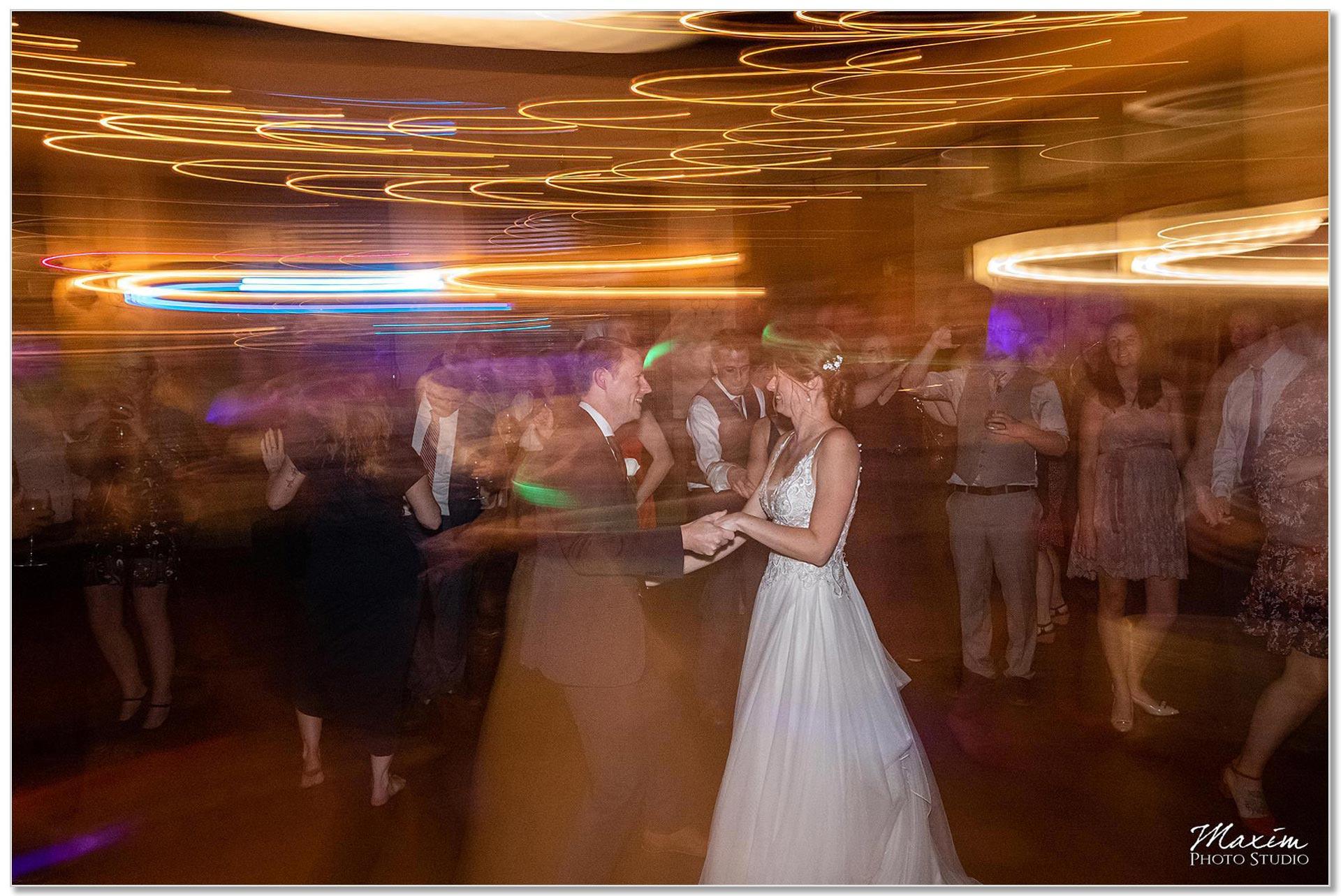 Backstage Event Center Wedding Reception Bride groom dancing