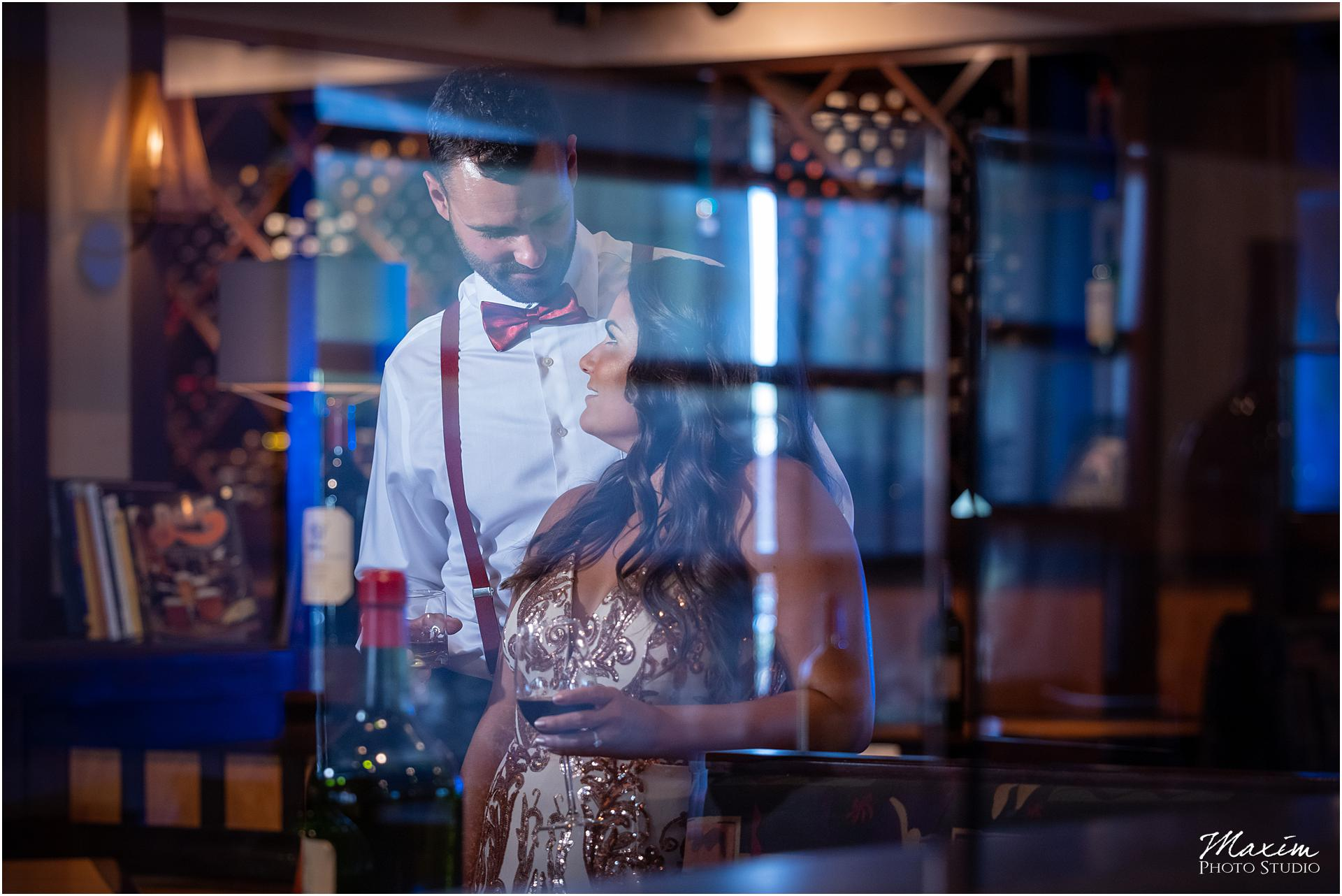 Carvers Restaurant blue light reflection engagement couple