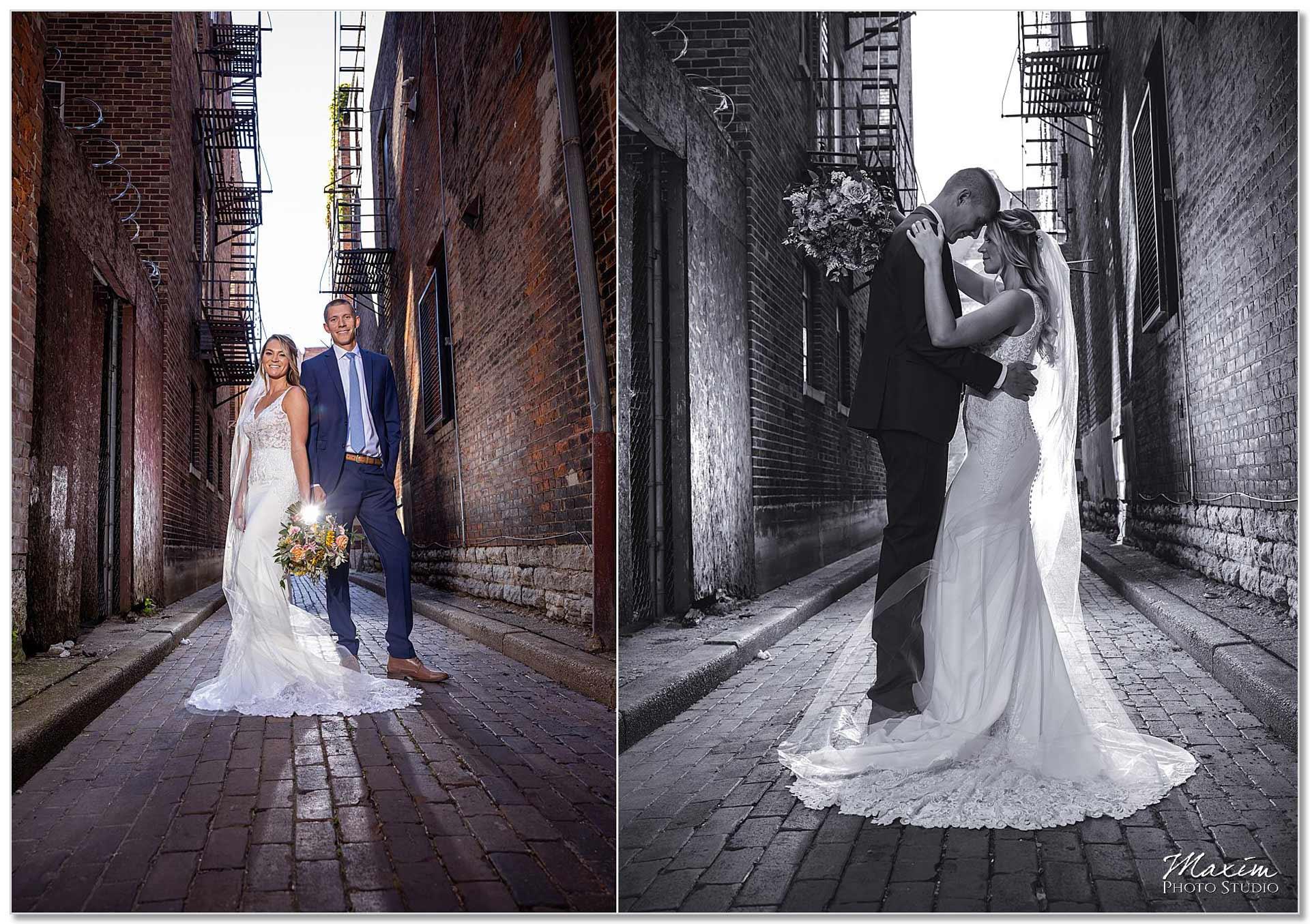 Downtown Cincinnati Wedding alley bride groom