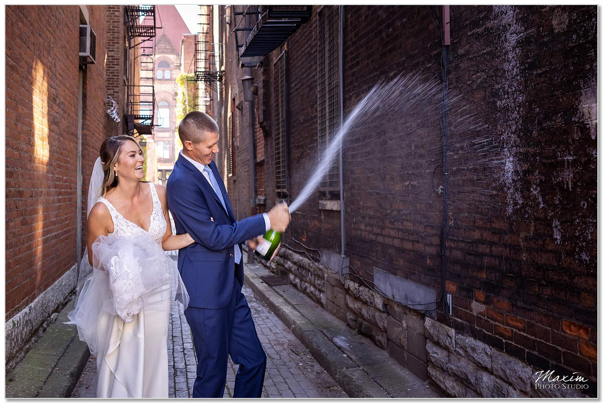 Downtown Cincinnati alley champagne toast