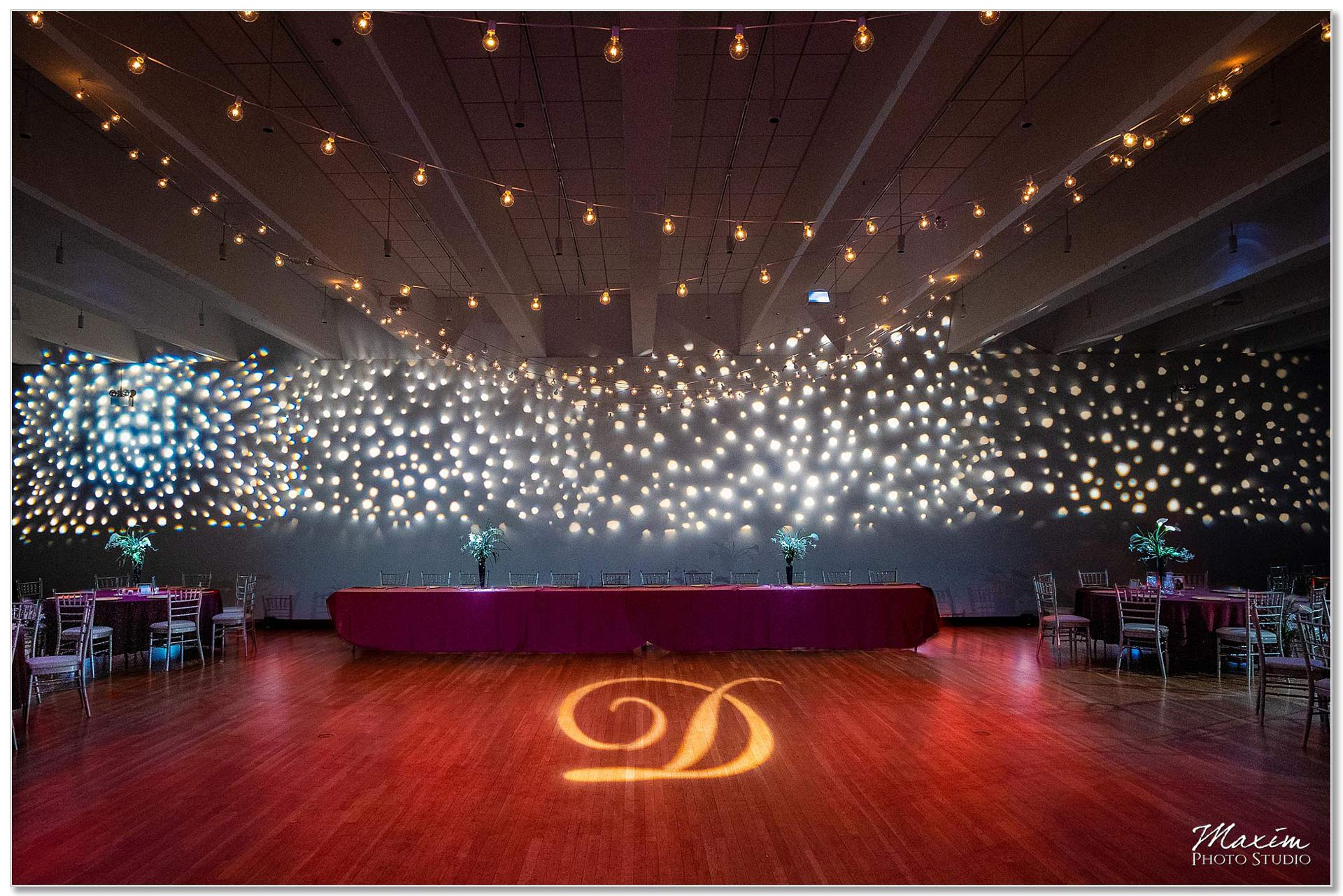 The Center Cincinnati Wedding Ceremony Reception lighting