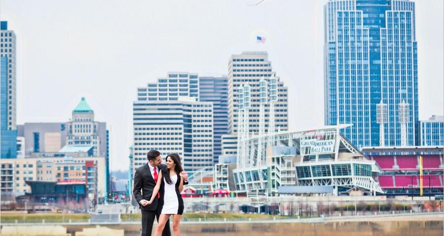 Cincinnati Skyline Winter Engagement