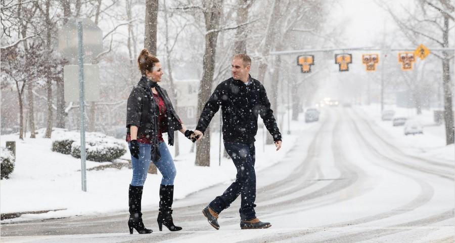 Cincinnati Snow Engagement Photography