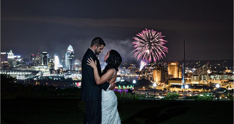 Cincinnati Wedding Drees Pavilion Reds Fireworks Cincinnati Skyline