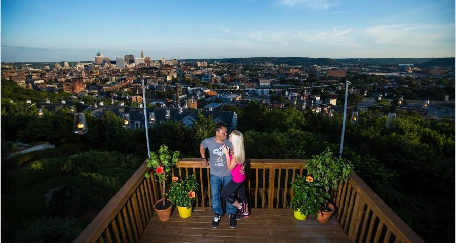 Cincinnati Wedding Photographers skyline night engagement