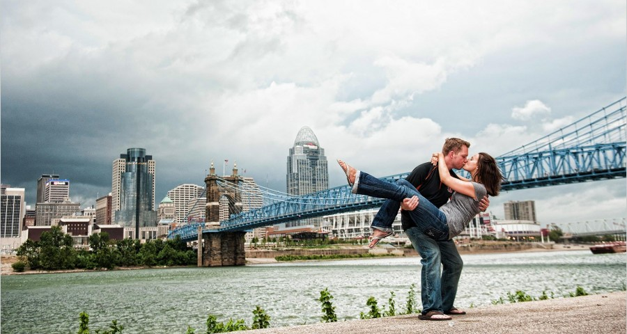 Cincinnati skyline roebling bridge engagement