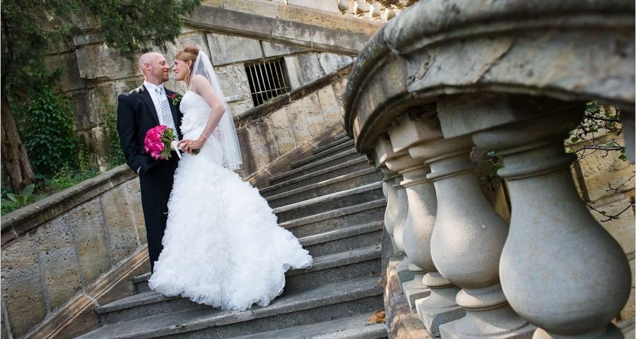 Dayton Art Institute Stairs Wedding Bride Groom
