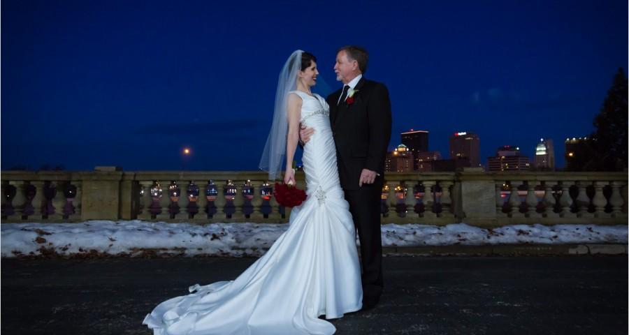 Dayton Art Institute Wedding Snow Bride Groom