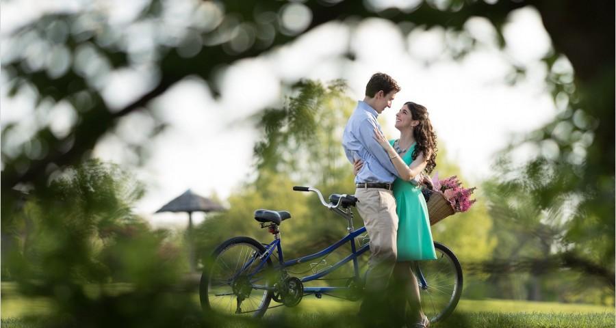 Cox Arboretum Dayton Ohio bike engagement couple