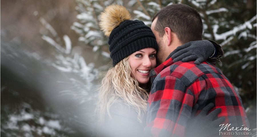 Devou Park Winter Snow engagement
