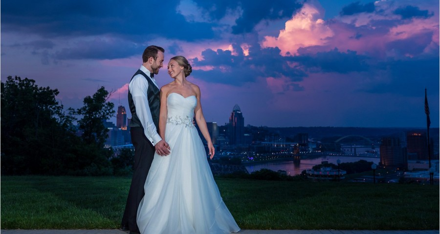 Drees Pavilion Covington Kentucky wedding photography Purple skies sunset
