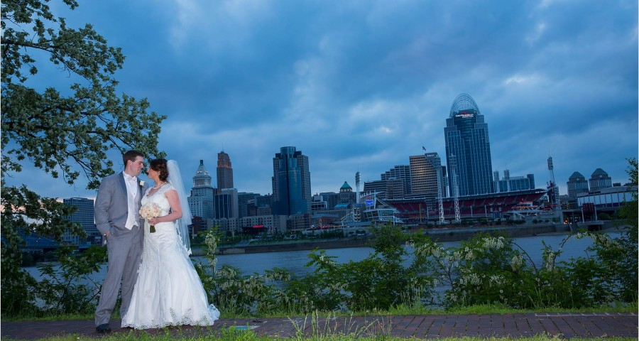 Cincinnati Skyline Wedding Bridge Groom Longworth Hall Reception