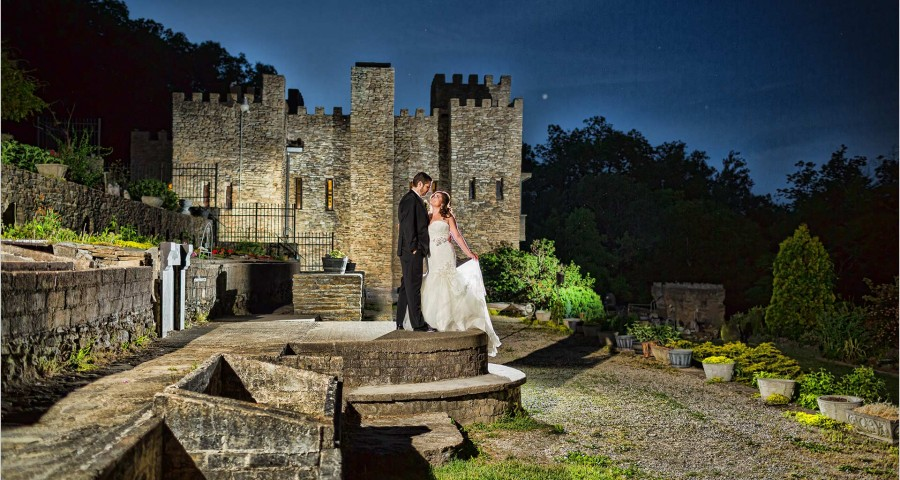 Loveland Castle Cincinnati Wedding sunset bride Groom
