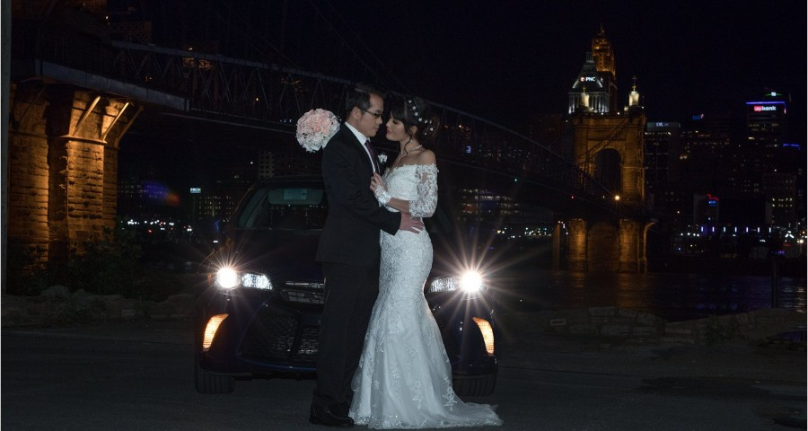 Roebling Bridge Cincinnati Car lights engagement picture