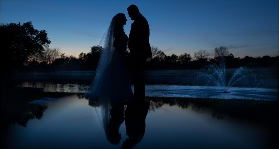 Rolling Meadows Ranch Wedding lake fountain