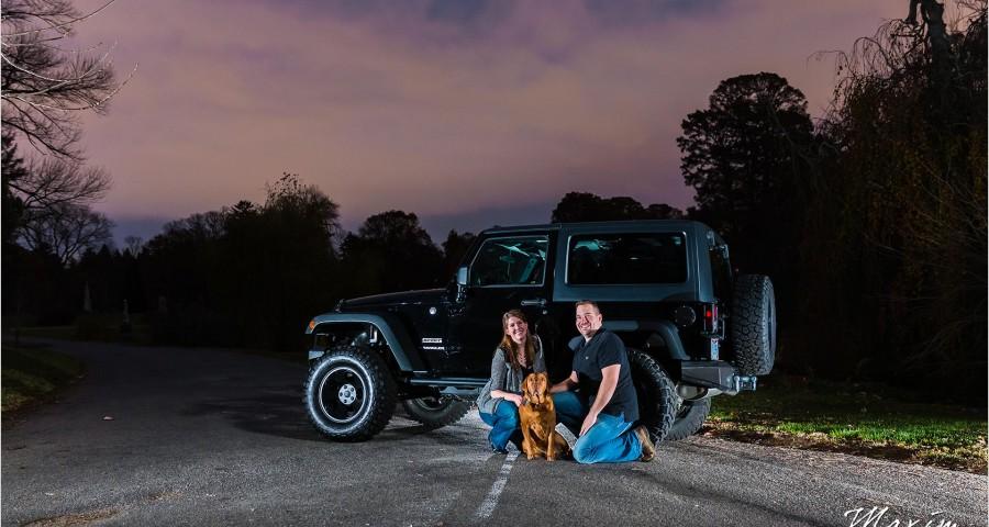 Spring Grove engagement Jeep dog sunset