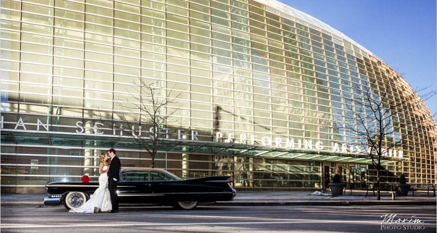 Schuster Center Wedding antique Car